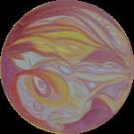 mandala met de kleuren geel, paars en rood